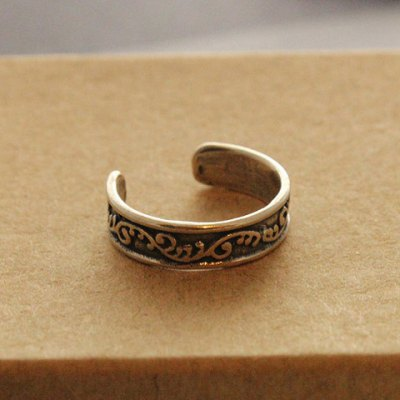 Vintage Carved Leaf Pattern Cuff Feet Ring For Women