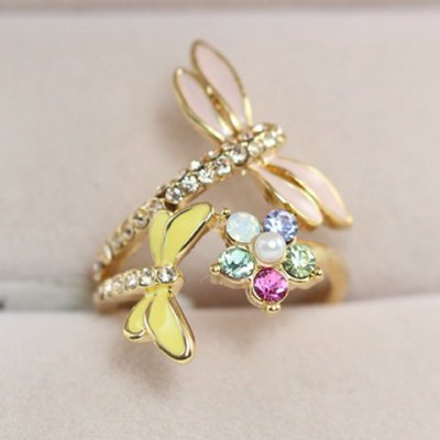 Rhinestone Dragonfly Ring