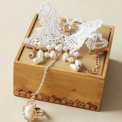 Фотография Retro Beads Pendant Butterfly Bracelet With Ring For Women