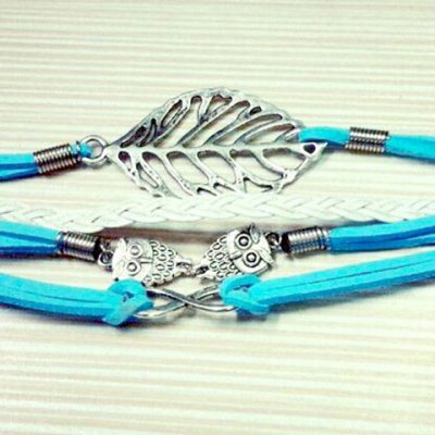Stylish Leaf Owl Layered Bracelet For Women