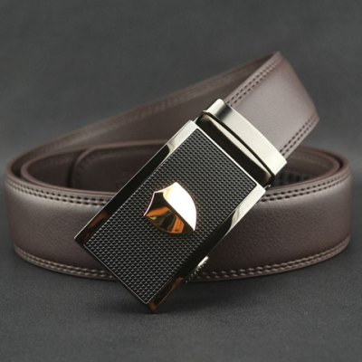 Stylish Pattern Decorated Rectangle Buckle Waist Belt For Men