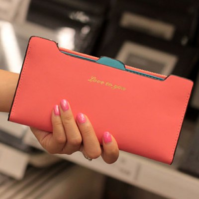 Simple Style PU Leather and Solid Color Design Women's Clutch Wallet