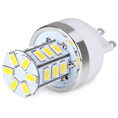 G9 24 x 5730 SMD LED AC220V Corn Lamp Silver Edge without Lamp Shade  -  Warm White Light