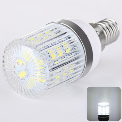 E14 24 x 5730 SMD LED AC220V Corn Lamp Silver Edge with Stripe Lamp Shade  -  White Light