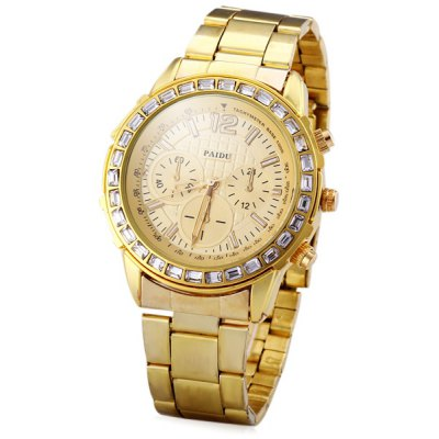 Fashion Men Wrist Watch Analog Display with Round Dial Stainless Steel Watch Band