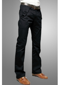 Casual Style Solid Color Zipper Fly Pocket Embellished Straight Leg Men's Cotton Long Pants