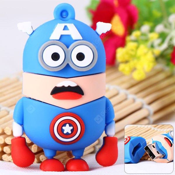 Cartoon Style Captain American Bee-do Pattern 32GB USB 2.0 Flash Memory for Computer NU0248101
