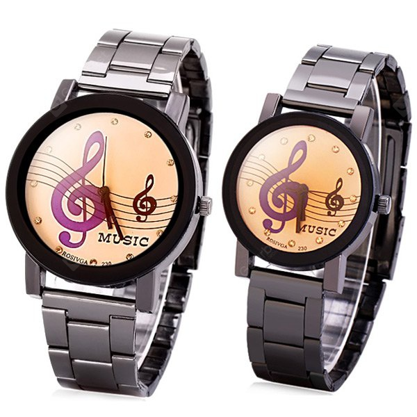 Rosivga Stylish Couple Watch Analog with Musical Note Round Dial Steel Watch Band