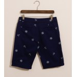Buy Fashion Style Zipper Fly Solid Color Anchor Print Hole Design Straight Leg Men's Cotton Shorts 2XL