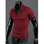 cheap Fashion Style Turn-down Collar Slimming Solid Color Animal Print Short Sleeves Men's Polyester Polo Shirt