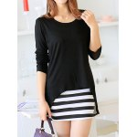 Sweet Scoop Neck Women's Solid Color Blouse + Striped Sundress