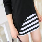 cheap Sweet Scoop Neck Women's Solid Color Blouse + Striped Sundress