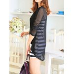 Sweet Scoop Neck Women's Solid Color Blouse + Striped Sundress photo
