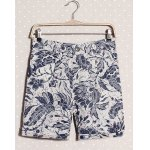 Buy Fashion Style Ethnic Floral Print Zipper Fly Slimming Straight Leg Men's Cotton+Linen Shorts M WHITE