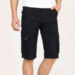 Buy Fashion Style Zipper Fly Personality Pocket Embellished Solid Color Simple Design Straight Leg Men's Cotton Blend Beach Shorts 28 BLACK