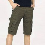 Buy Fashion Style Zipper Fly Personality Pocket Embellished Solid Color Simple Design Straight Leg Men's Cotton Blend Beach Shorts 31