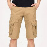 Buy Fashion Style Zipper Fly Personality Pocket Embellished Solid Color Simple Design Straight Leg Men's Cotton Blend Beach Shorts 36 KHAKI