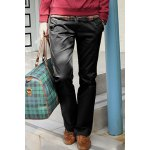 cheap Casual Style Solid Color Zipper Fly Pocket Embellished Straight Leg Men's Cotton Long Pants