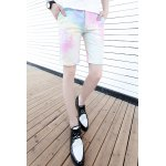 Buy Colorful Zipper Fly Slimming Ombre Stylish Design Straight Leg Men's Cotton+Linen Shorts M COLORFUL