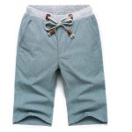 Buy Fashion Style Color Block Rib Lace-Up Design Solid Slimming Straight Leg Men's Cotton+Linen Shorts 2XL LIGHT GREEN