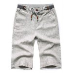 Buy Stylish Lace-Up Rib Splicing Waist Solid Color PV-Leather Embellished Slimming Straight Leg Men's Cotton+Linen Shorts XL LIGHT GRAY