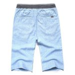 Buy Stylish Lace-Up Rib Splicing Waist Solid Color PV-Leather Embellished Slimming Straight Leg Men's Cotton+Linen Shorts 3XL
