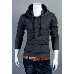 Buy Fashion Style Solid Color Slimming Simple Design Long Sleeves Men's Cotton Blend Hoodies XL DEEP GRAY