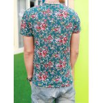 Buy Ethnic Style Round Neck Slimming Colorful Flower Print Design Short Sleeves Men's Cotton Blend T-Shirt S BLACKISH GREEN