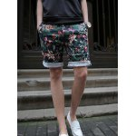 Buy Fashion Style Zipper Fly Slimming Colorful Flower Print Crimping Straight Leg Men's Cotton Blend Shorts XL