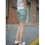 Buy Korean Style Solid Color Zipper Fly Personality Strap Embellished Crimping Straight Leg Men's Cotton Blend Shorts 2XL