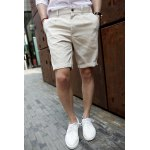 Buy Korean Style Zipper Fly Solid Color Slimming Button Embellished Straight Leg Men's Linen Shorts L OFF-WHITE