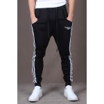 Buy Casual Style Lace-Up Color Block Side Stripes Embellished Tiny Letters Print Slimming Elastic Cuffs Narrow Feet Men's Cotton Blend Pants L