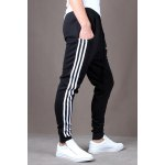 Buy Casual Style Lace-Up Color Block Side Stripes Embellished Tiny Letters Print Slimming Elastic Cuffs Narrow Feet Men's Cotton Blend Pants M BLACK