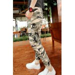 Buy Casual Style Lace-Up Slimming Classic Camo Print Rib Splicing Narrow Feet Men's Polyester Pants XL