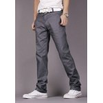 Buy Fashion Style Personality Embellished Waist Zipper Fly Solid Color Slimming Straight Leg Men's Cotton Pants 34 DEEP GRAY