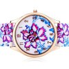Delicate Leather Band Women Quartz Watch with Chinese Flower Round Dial deal