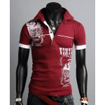 Stylish Turn-down Collar Slimming Personality Totem Print Solid Color Short Sleeves Men's Polyester Polo Shirt