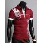 cheap Stylish Turn-down Collar Slimming Personality Totem Print Solid Color Short Sleeves Men's Polyester Polo Shirt