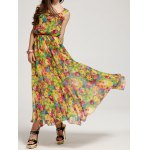 Bohemian Scoop Neck Floral Print Chiffon Dress For Women deal
