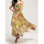 Bohemian Scoop Neck Floral Print Chiffon Dress For Women for sale