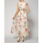 Ladylike Square Neck Sleeveless Embroidered Organza Women's Dress for sale