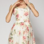 best Ladylike Square Neck Sleeveless Embroidered Organza Women's Dress