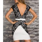 cheap Contrast Lace Bodycon Mini Homecoming Dress