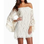 cheap Off-The-Shoulder Trumpet Sleeve Lace Bodycon Dress