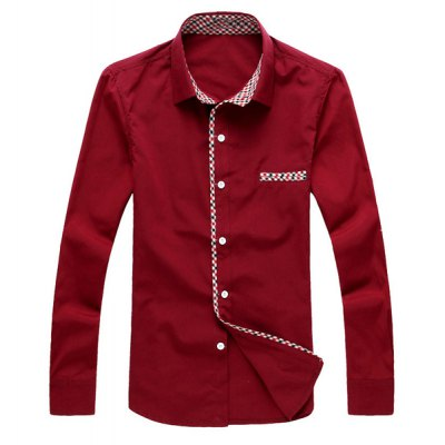 Гаджет   Fashion Style Turn-down Collar Solid Color Slimming Checked Embellished Long Sleeves Men