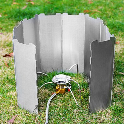 10 Plates Foldable Outdoor BBQ Picnic Camping Stove Wind Shield Screen Cookout