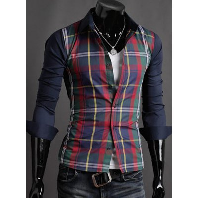 ФОТО Fashion Style Turn-down Collar Slimming Color Block Checked Splicing Long Sleeves Men