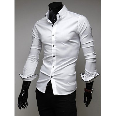 Гаджет   Slimming Trendy Turn-down Collar Stylish Stripes Tipping Solid Color Long Sleeves Men