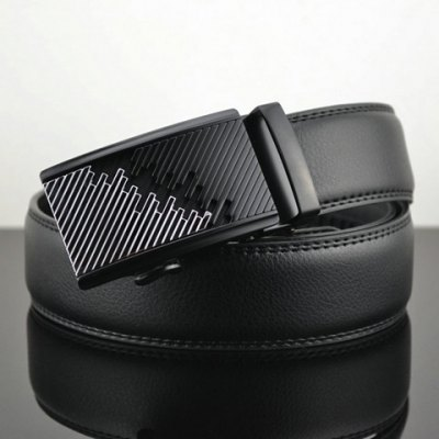 Automatic Geometric Buckle Leather Waist Belt For Men