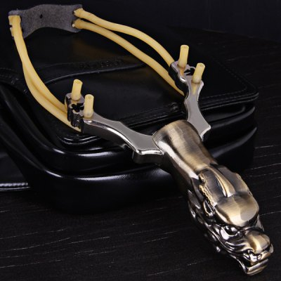 ФОТО Dragon Pattern Stainless Steel Slingshot with Steel Ball Container Special for Athletics and Competition
